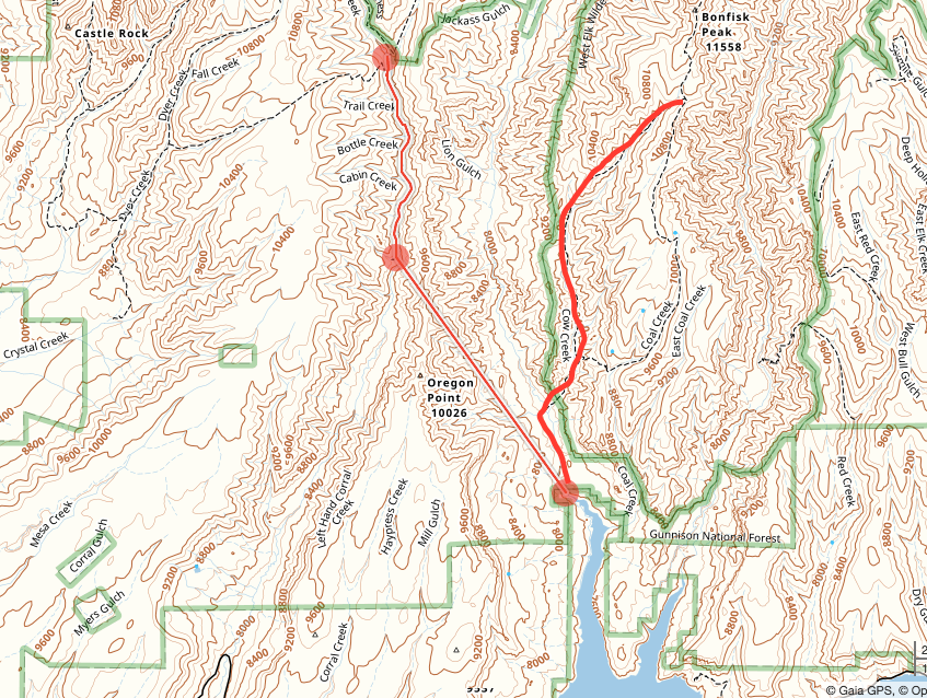 A hybrid route from Curecanti Creek to Blue Mesa Reservoir, Gunnison County, CO.