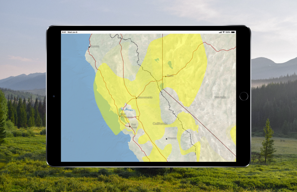 An ipad showing the air quality forecast map in Gaia GPS